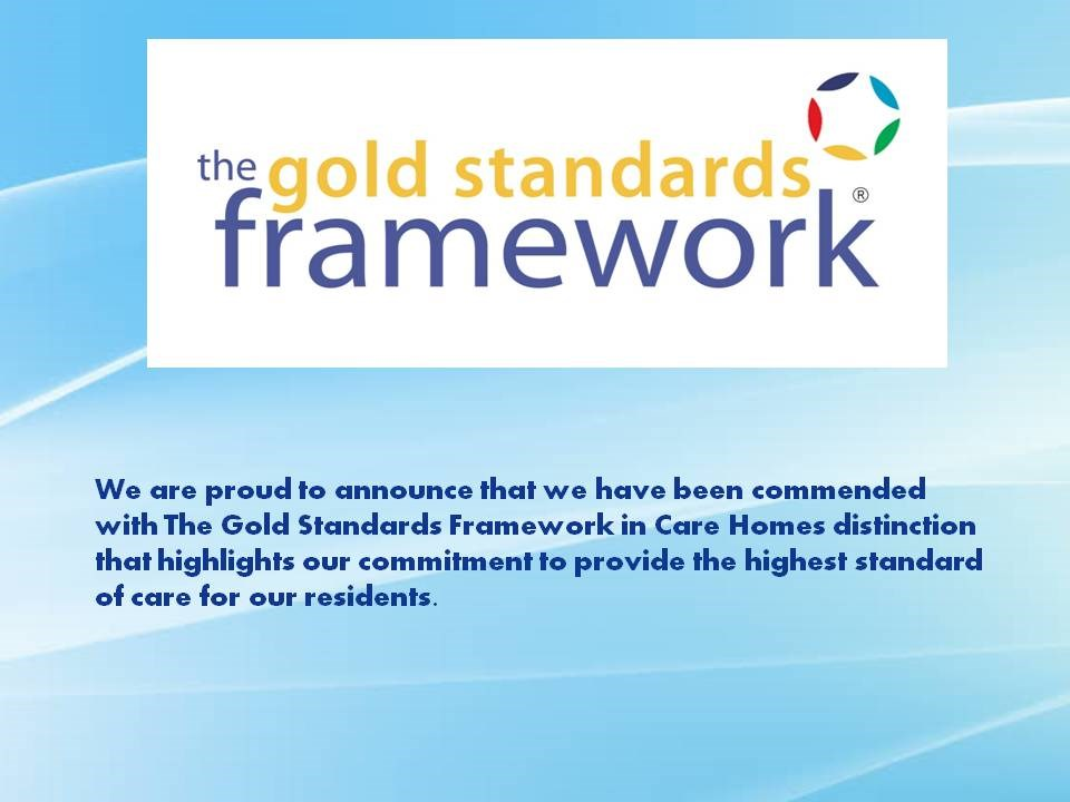 Gold Standards Framework Commend at The Wolds Care Centre